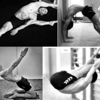 A 4 part picture of a shirtless man performing various Yoga poses.
